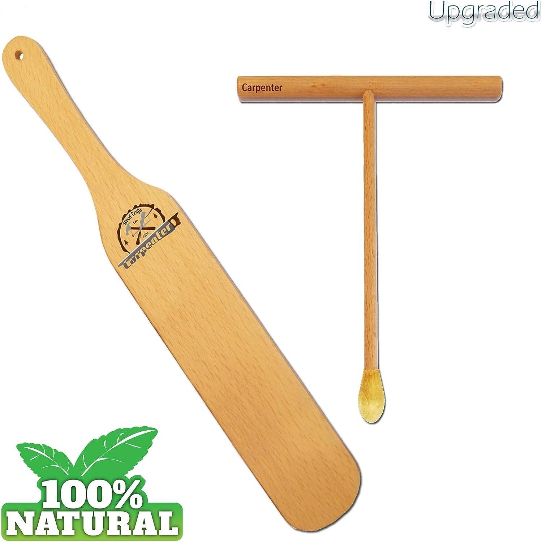 "Crepe Spreader - Crepe Spatula Set Kit - Handmade Natural Beechwood Spatula Spreader - 14"" Crepe Spatula - 5"" Spreader Wood Spatula Turner - Crepe Breakfast Maker - Bamboo Crepe Spreader (Pack 2)"
