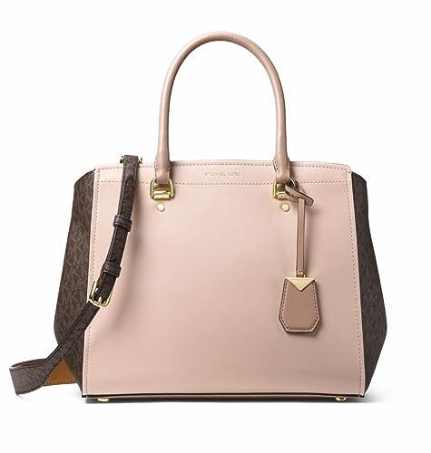 Michael Kors Borsa satchel logo grande benning marrone   ghianda in pelle  Brown Fabric fa969d65dd4