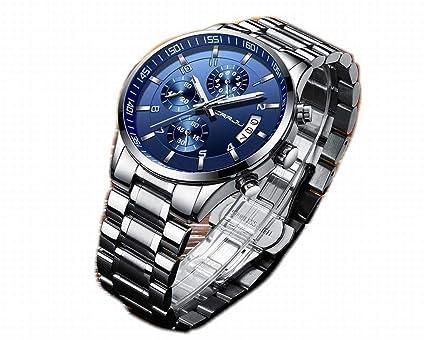 low priced f6154 8890f Amazon | 【クロノグラフ】高級 腕時計 ブルー 金属ベルト ...