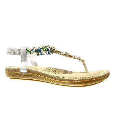 5efb6652962 Angkorly - Chaussure Mode Sandale Tong salomés Femme Bijoux tréssé Talon  Plat 2 CM - Blanc