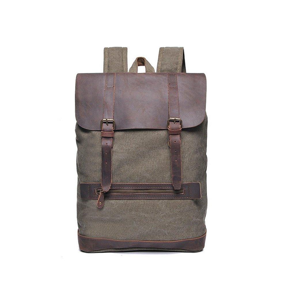 Sensexiao Bergsteigen Männer Frauen Rucksack Daypack Wasserdichte Vintage Reißverschluss Leinwand Laptop-Tasche Student Outdoor-Shopping (Farbe   Armeegrün)