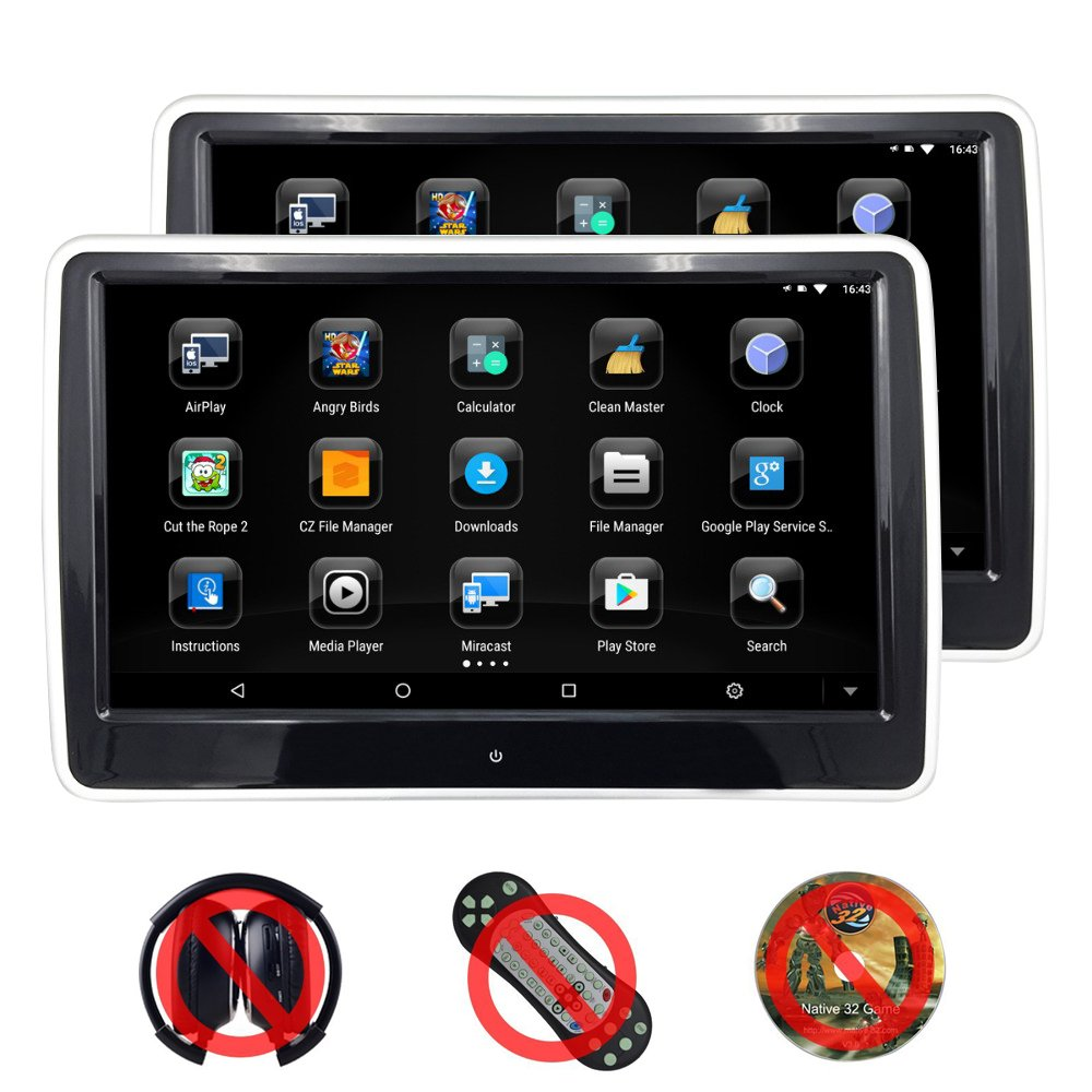 Iokone 106 Car Headrest Monitor 19201080 Hd Android Direct Tv Wiring Diagram In Addition Dvd Touch Screen Vehicle Player For With 3g Wifi Usb Sd Card Hdmi Fm Game
