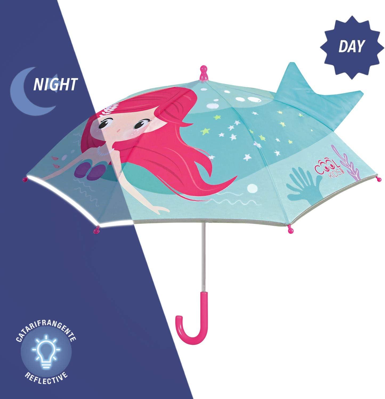 Parapluie Fille R/éfl/échissant Sir/ène avec Queue 3D Petit Parapluie Bleu Turquoise Fuchsia Enfant R/ésistant Coupe Vent Parapluie Pop Up Fillette 3//6 Ans /École Maternelle Perletti Diam/ètre 76 cm