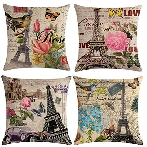 7COLORROOM 4 Pack Vintage Eiffel Tower Throw Pillow Covers Flower with Butterfly&Birds Cushion Cover for Couch Sofa Bed Home Decor, Square Cotton Linen Pillowcases 18 X 18 Inches (Tower) (Eiffel Tower Outdoor)
