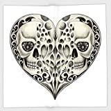 Cotton Microfiber Hand Towel,Day Of The Dead Decor,Twin Half Fire Design in Hearts Festive Spanish Image Print,Cream and Black,for Kids, Teens, and Adults,One Side Printing
