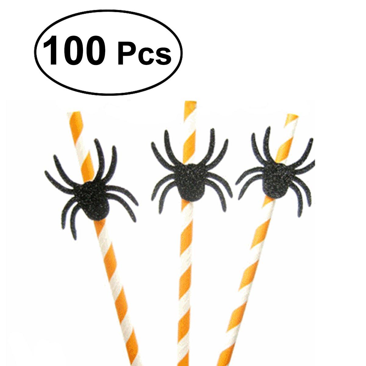 LUOEM 100 PCS Novedad serie de Halloween pajitas con Toppers Cake Topper para cumpleaños decoración de fiesta de Halloween (araña)