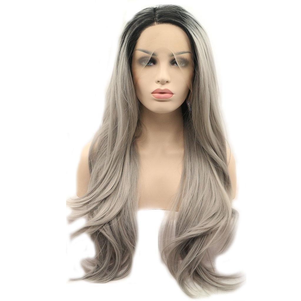 AN-LKYIQI Pelucas Europa y los Estados Unidos cosplay larga onda grande frente negro cordón gris gradiente cabeza cubierta de peluca