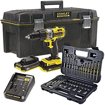 STANLEY FATMAX FMCK625PR23-QW - Taladro percutor 18V, 27.200 ipm, con 2 baterías litio de 2Ah, set de 50 pzs y caja para herramientas: Amazon.es: Bricolaje y herramientas