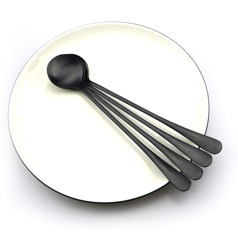 Wichaiyen4165 Long Handle Tablespoon Scoop 8Pc Coffee Spoon Black Table Teaspoon Mixing Soup Scoop by Wichaiyen4165 (Image #5)