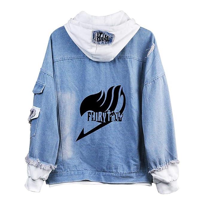 Cosstars Fairy Tail Anime Chaquetas de Mezclilla Denim Jacket Adulto Cosplay Jeans Hoodie Sudaderas Cárdigan: Amazon.es: Ropa y accesorios