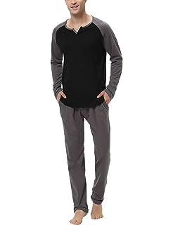 Aibrou 100% Algodón Pijamas Hombre Invierno Mangas Largas ...