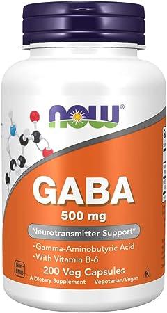 NOW Supplements, GABA (Gamma-Aminobutyric Acid) 500 mg + B-6, 200 Count, Veg Capsules