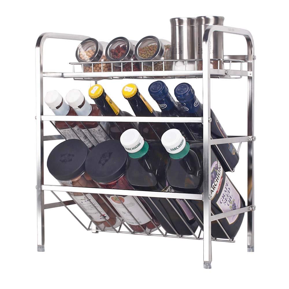 3-Layer Seasoning Rack Kitchen Counter Storage Rack for Condiment Storage 36×20×41cm