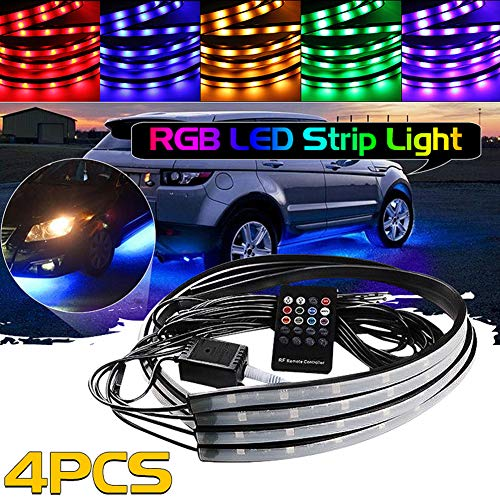 Grebest LED Strip Other Light Car Light 12V Car Chassis RGB LED Strips Light Remote Control Music Active Atmosphere Lamp