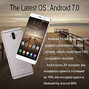 Xgody Y19 6 Inch 4G FDD-LTE Unlocked Smartphones with Fingerprint Scanner Android 7.0 16GB ROM 2GB RAM MTK 6737 Dual SIM HD Dual Camera 13MP+5 MP Support Wi-Fi GPS Bluetooth Telefonos Oro (Gold)