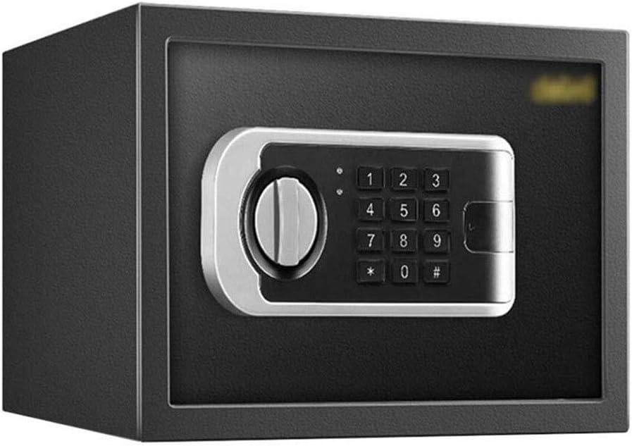 Zsmpy Safes Medium Digital Safe Steel Construction, Lcd Display, Emergency Override Key 20Cm Black Finish Anti-Theft, Fireproof And Waterproof Smart Home Office Safe Lock Box