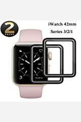 Apple Watch 42mm Tempered Glass Screen Protector, [2 Pack] Full Coverage, 9H Hardness, Anti-Fingerprint, Scratch-Resistant, Ultra-Clear, Anti-Bubble Film Glass Compatible with iWatch 42mm Series 3/2/1 Hardcover