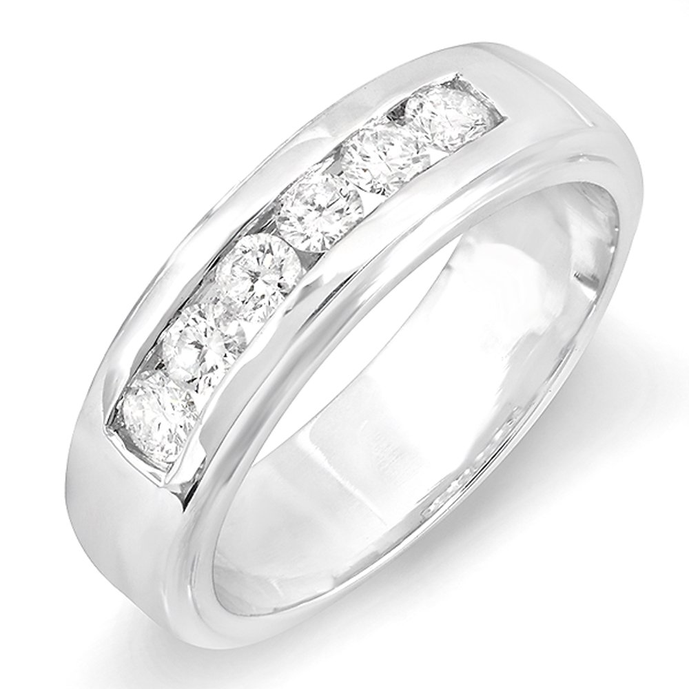 1.00 Carat (ctw) 14K White Gold Round White Diamond Channel Mens Wedding Band 1 CT (Size 9)