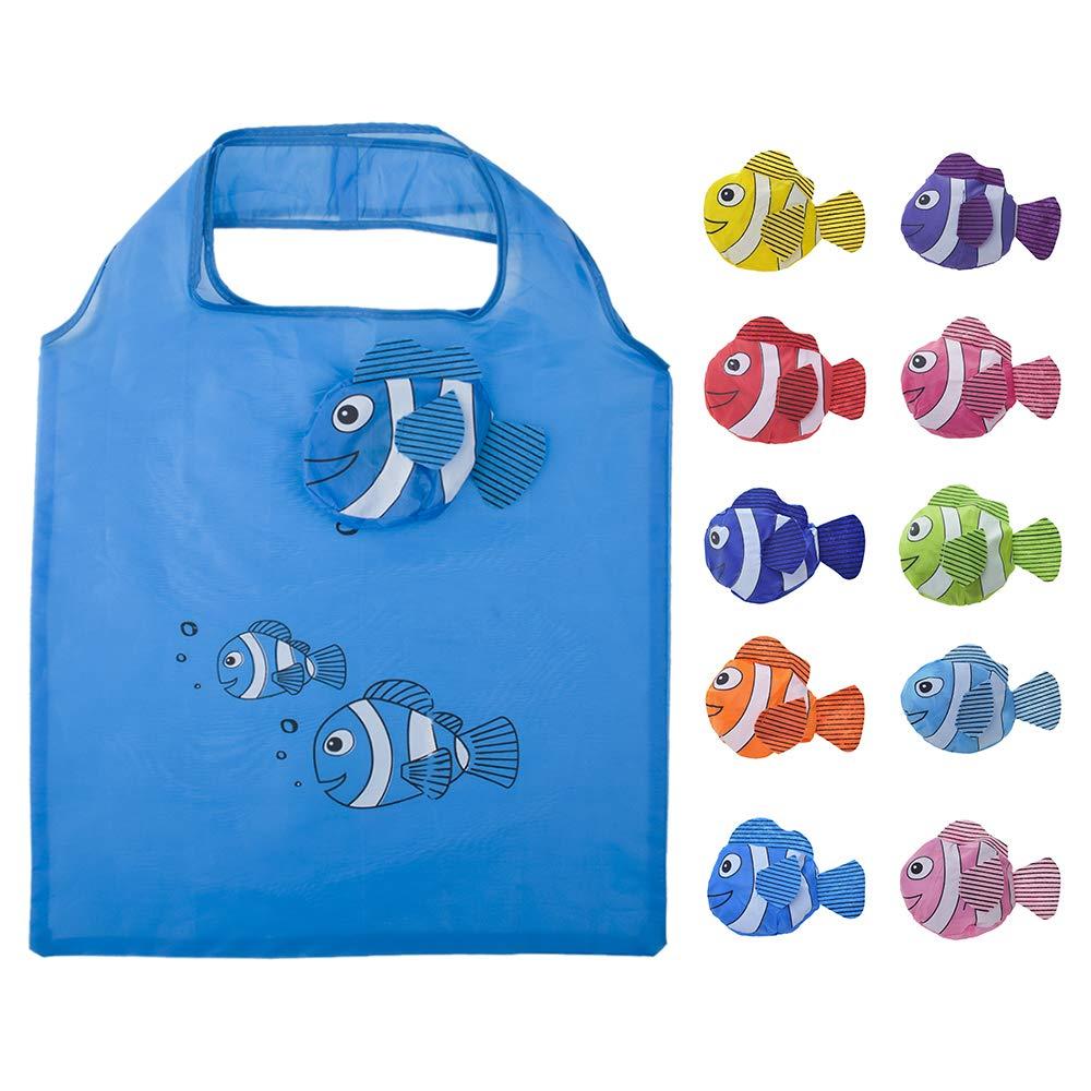 Opromo 10個魚の買い物袋カラフルな折り畳み式食料品袋のハンドルバッグ再利用可能なトートバッグ - オレンジ - 100 Pack B07GGY1WSV 色込 30 Pack 30 Pack 色込