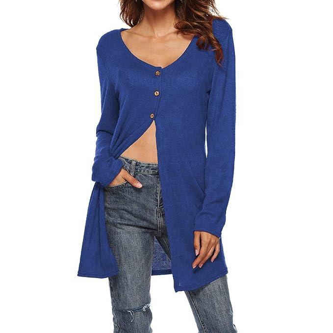 Luckycat Mujeres Otoño Cuello V Manga Larga Sólido Botón Top Blusa Casual Tops Camiseta (Azul