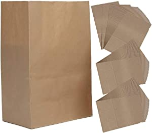 LCJHOMTOO 50 Pack Large Kraft Food Bags Packaging Paper Bread paper bags Loaf paper bags Bakery Bag Lunch Bags 100% Recycled Kraft Paper-Size(12.59X7X4.3Inch) -Brown