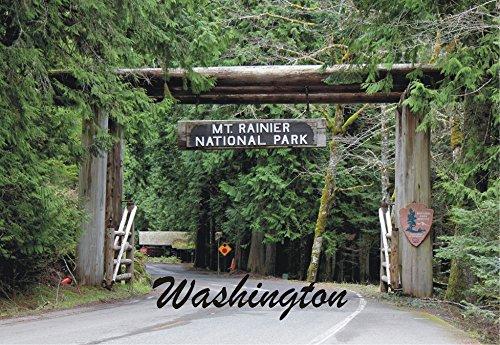 (Mount Rainier National Park Entrance, Washington State, WA, Souvenir Magnet 2 x 3 Fridge Magnet)