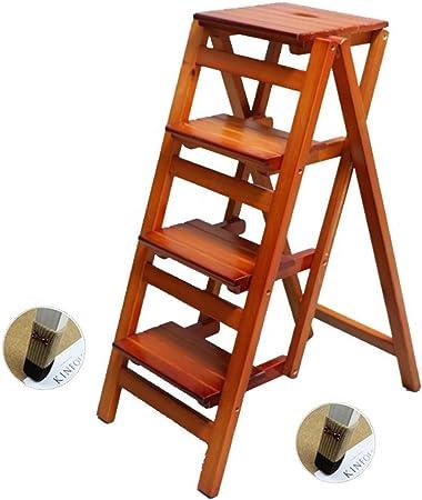 Taburete de Madera Plegable Escalera Multifuncional de Madera Taburete de Escalera 4 Taburetes de Paso Adulto Interior de Madera para Cocina/Oficina/Biblioteca Escalera de Tijera Herramientas pa: Amazon.es: Hogar