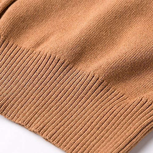 ZKOO Mujeres Camisa de Punto Top Shirts de Manga Larga Slim Knit Pullover Casual Jerseys Sueter Caqui