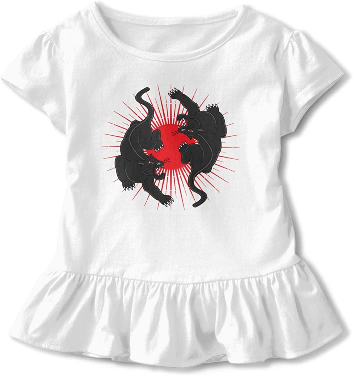 Not Available Retro Panther Tattoo Baby Girl Short Sleeve T-Shirt Flounced Cute Outfits for 2-6 Years Old Baby