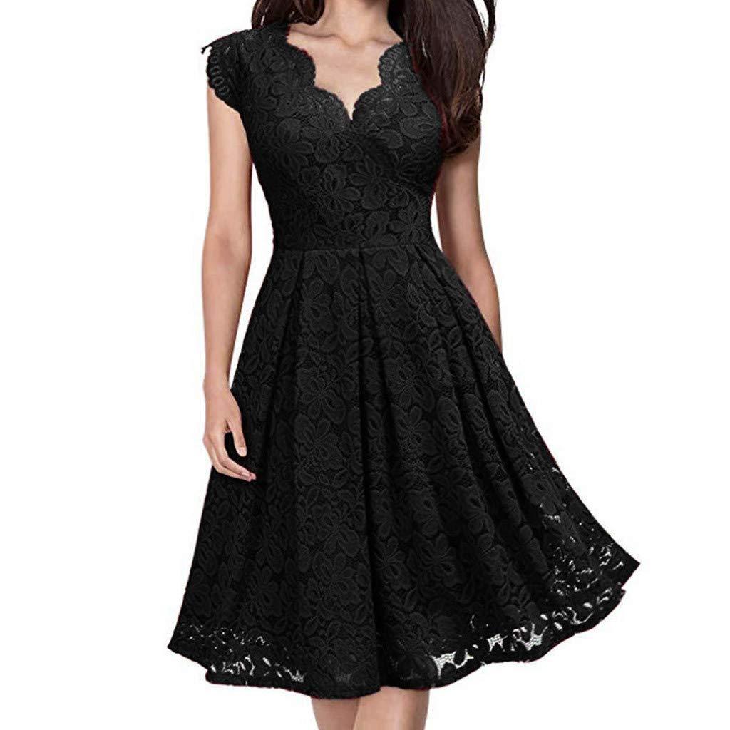 Ximandi Women V-Neck Off Shoulder Lace Formal Evening Party Dress Sleeveless Dress Black