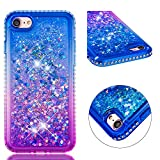 for iPhone 7/8 Case Glitter Liquid and Screen Protector,QFFUN Bling Sparkle Quicksand Gradient Colors Design Shiny Diamond Frame Clear Slim Fit Protective Phone Case Bumper - Blue and Purple