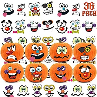 36 Packs Halloween Pumpkin Decorating Stickers - 18 Sheet Pumpkin Face Stickers in 12 Designs for Halloween Party Supplies Trick or Treat Party Favors