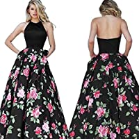 Minisoya Summer Women Floral Long Swing Dress Sleeveless Prom Party Ball Gown Formal Evening Beach Maxi Dress