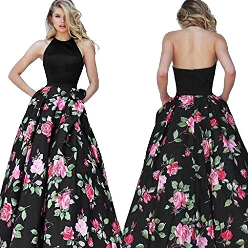 Minisoya Summer Women Floral Long Swing Dress Sleeveless Prom Party Ball Gown Formal Evening Beach Maxi Dress (Black, L) (Ball Gown Manual)