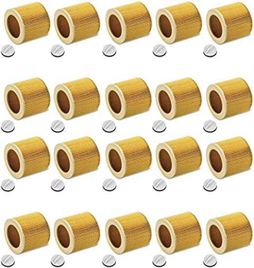 Set de 20 cartuchos de filtro para aspiradora en seco y húmedo Kärcher A 2204 2254 2101 WD2 WD3 MV2 MV3 WD2.200 WD3.500 P WD 3.200, similar a 6.414-552.0: Amazon.es: Hogar