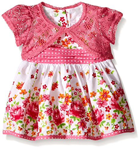 Youngland Baby Girls' Floral Print Dress with Crochet Lace Cardigan, Floral, 0-3 Months