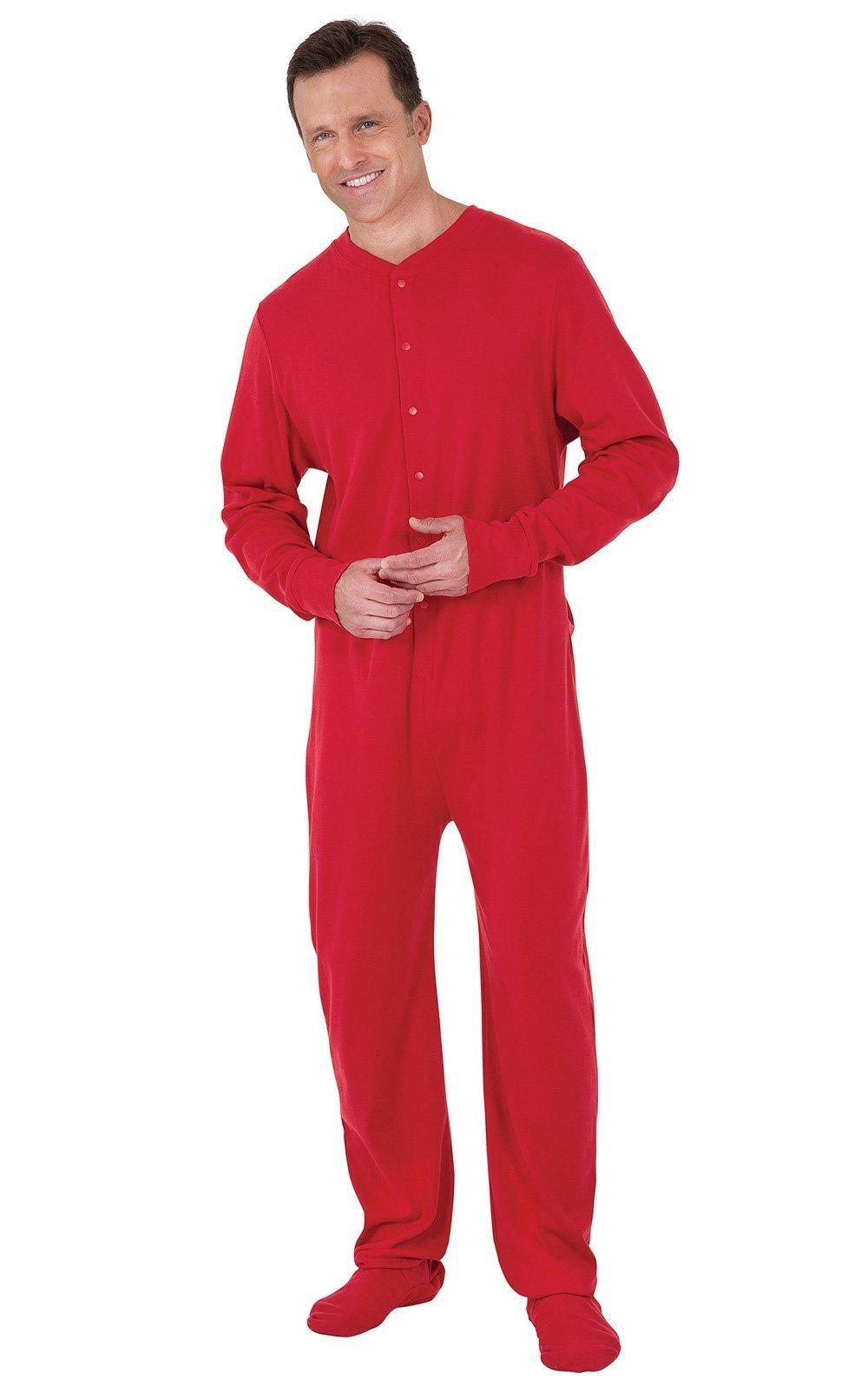 PajamaGram Men's Cotton Dropseat Footie Pajamas, Red, MED