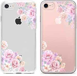 "Obbii Design iPhone6s 7 8 SE Clear Case Design Pattern Printed Transparent Plastic Back Case with TPU Bumper Case Cover for iPhone 6s/iPhone 7/ iPhone 8/ iPhone SE 2020 (4.7"") (Pink Flowers)"