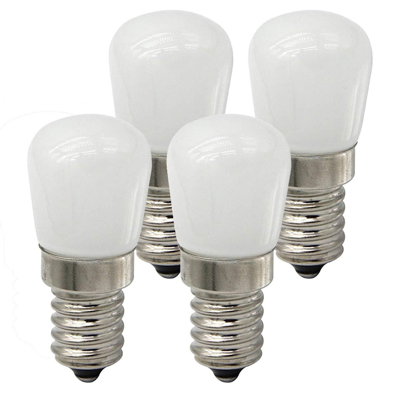 CTKcom 2W LED Refrigerator Bulb,European LED Bulbs(4 Pack)- E14 LED Refrigerator Light Bulb 15W Equivalent Daylight White 6000K 110V Lamp for Freezer Oven Microwave Lighting,Home Lighting,4 Pack