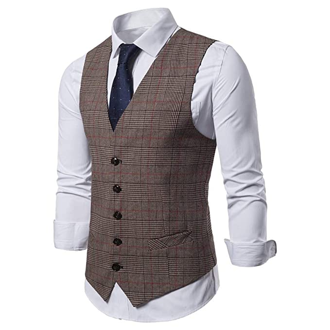 QUICKLYLY Chalecos Hombres Slim Fit Trajes Sin Manga V-Neck ...