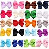 Qandsweet Girl's Ribbon Hairpin Grosgrain Hair Bow Clips (20pack)