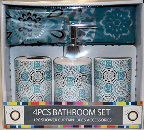 Teal Floral Circles P Design 4 Piece Ceramic Bath Ensemble with, Shower Curtain, Lotion Dispenser, Toothbrush Holder & Tumbler (Ensemble Shower)