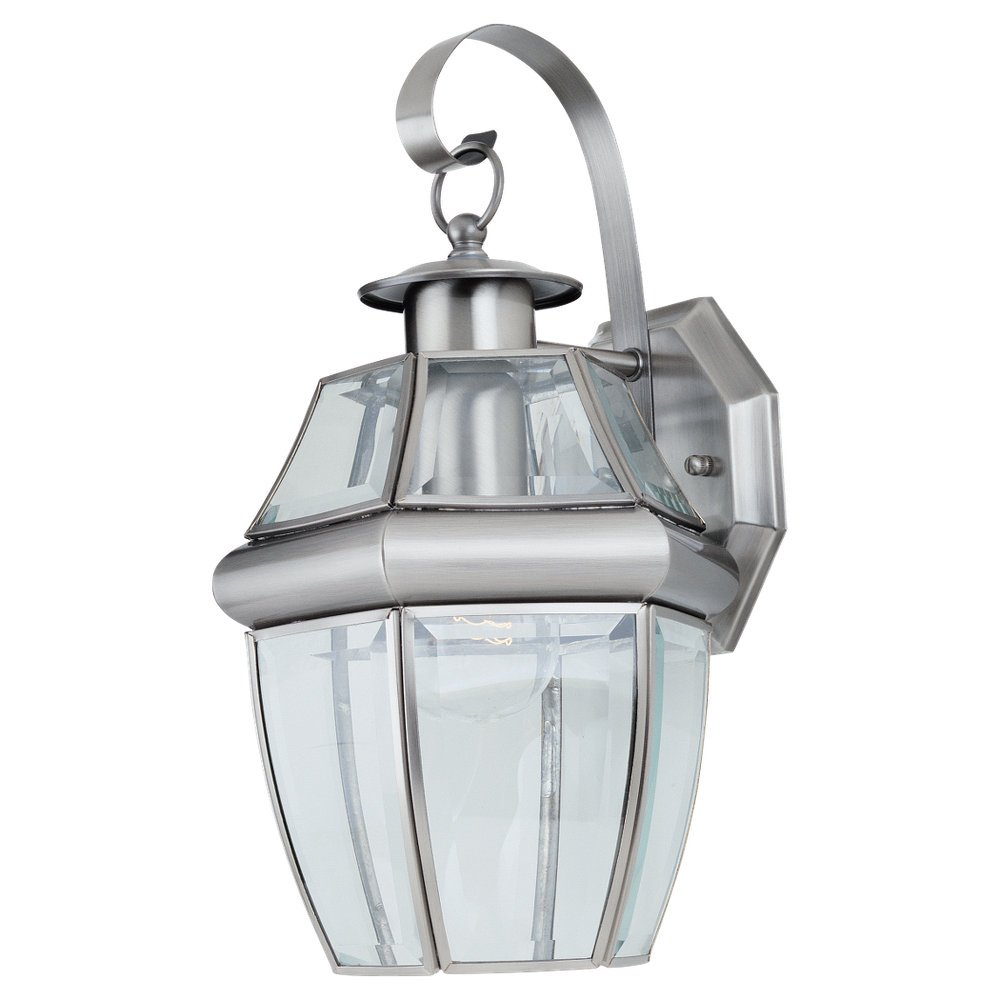 Amazon sea gull lighting 8067 965 single light outdoor amazon sea gull lighting 8067 965 single light outdoor lancaster wall lantern clear beveled glass and antique brushed nickel home improvement aloadofball Images