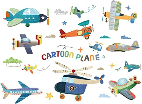 2 PACK,Aviones De Dibujos Animados Pegatinas De Pared De PVC DIY Avión Mural Calcomanías Habitaciones De Los Niños Dormitorio De Bebé Jardín De Infantes Decoración: Amazon.es: Bricolaje y herramientas