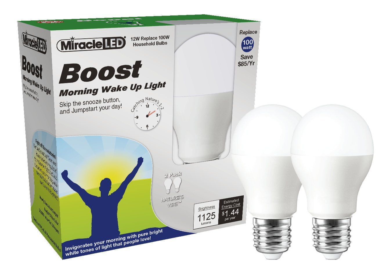 Miracle LED Boost Morning Wake Up Light, Replaces 100 Watt Bulbs, Natural Energy Light, 2-Pack