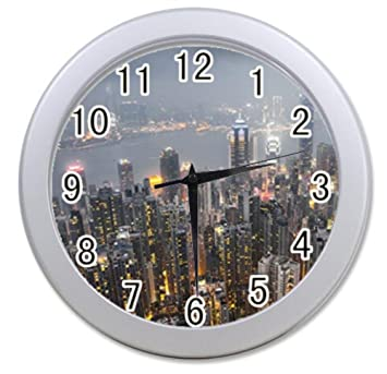 Merveilleux Bernie Gresham Overlooking The City Personalized Custom Alarm Clock For  Children Bedroom Custom Wall Clock Black