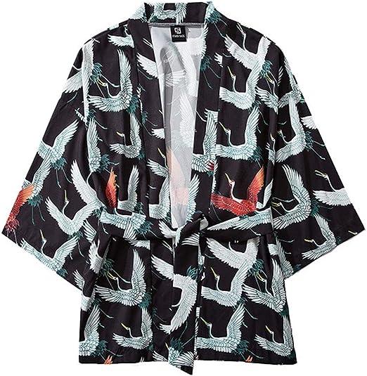 ACEBABY Camisa Hawaiana Hombre Suelta de Gran Tamaño Camisa de Estampado Bata Japonesa de Kimono con Manga Tres Cuartos Capa: Amazon.es: Ropa y accesorios