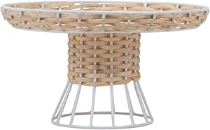 Foreside Home and Garden Foreside Home & Garden Large Decorative Metal and Rattan Riser, Brown, White