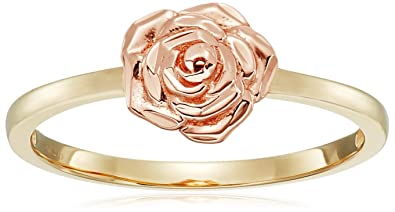 Amazon 14k rose gold flower ring with yellow gold ring size 8 14k rose gold flower ring with yellow gold ring size 8 mightylinksfo