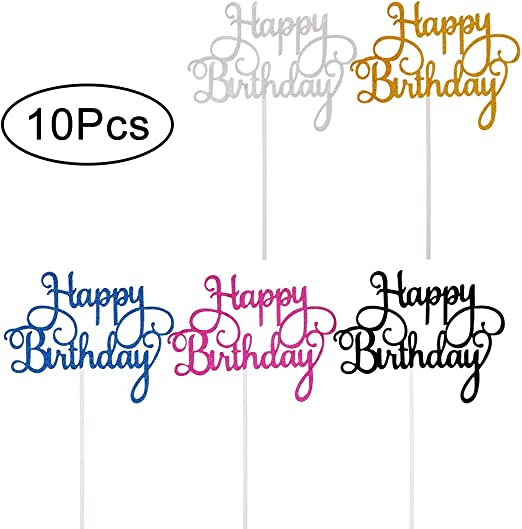 Vordas Welecoco Topper de Pastel de Cumplea/ños,25 Piezas Topper Feliz Cumplea/ños Happy Birthday Cake Topper Cake Decorations para Tarta para Cumplea/ños Baby Shower Fiesta Tem/ática